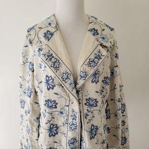 J. Jill linen embroidered floral blazer cream L